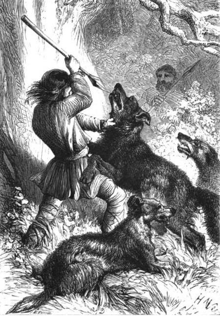 Wolf hunt with Wolfhounds. By Thomas Miller [Public domain], via Wikimedia Commons