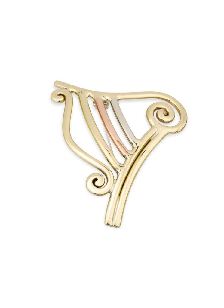 Tri Color Harp Brooch