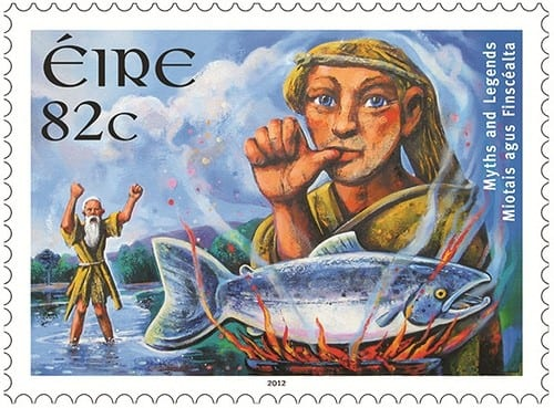 """Salmon of Knowledge"" – Irish Stamp from An Post. Image Source: writingsinrhyme.com"