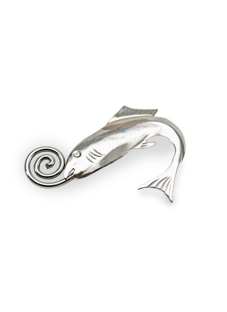 Silver Salmon Of Knowledge Brooch, US$55.00