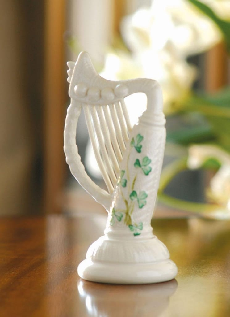 Belleek Shamrock Harp