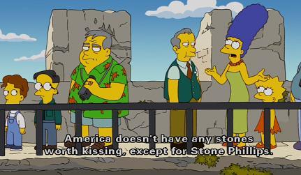 The Simpsons at the Blarney Stone. Image Source: thesimpsonsforever.tumblr.com