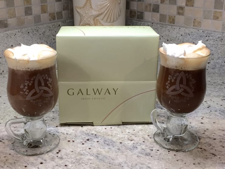 Barbara won a set of Galway Crystal Trinity Knot Irish Shamrock Latte Glasses