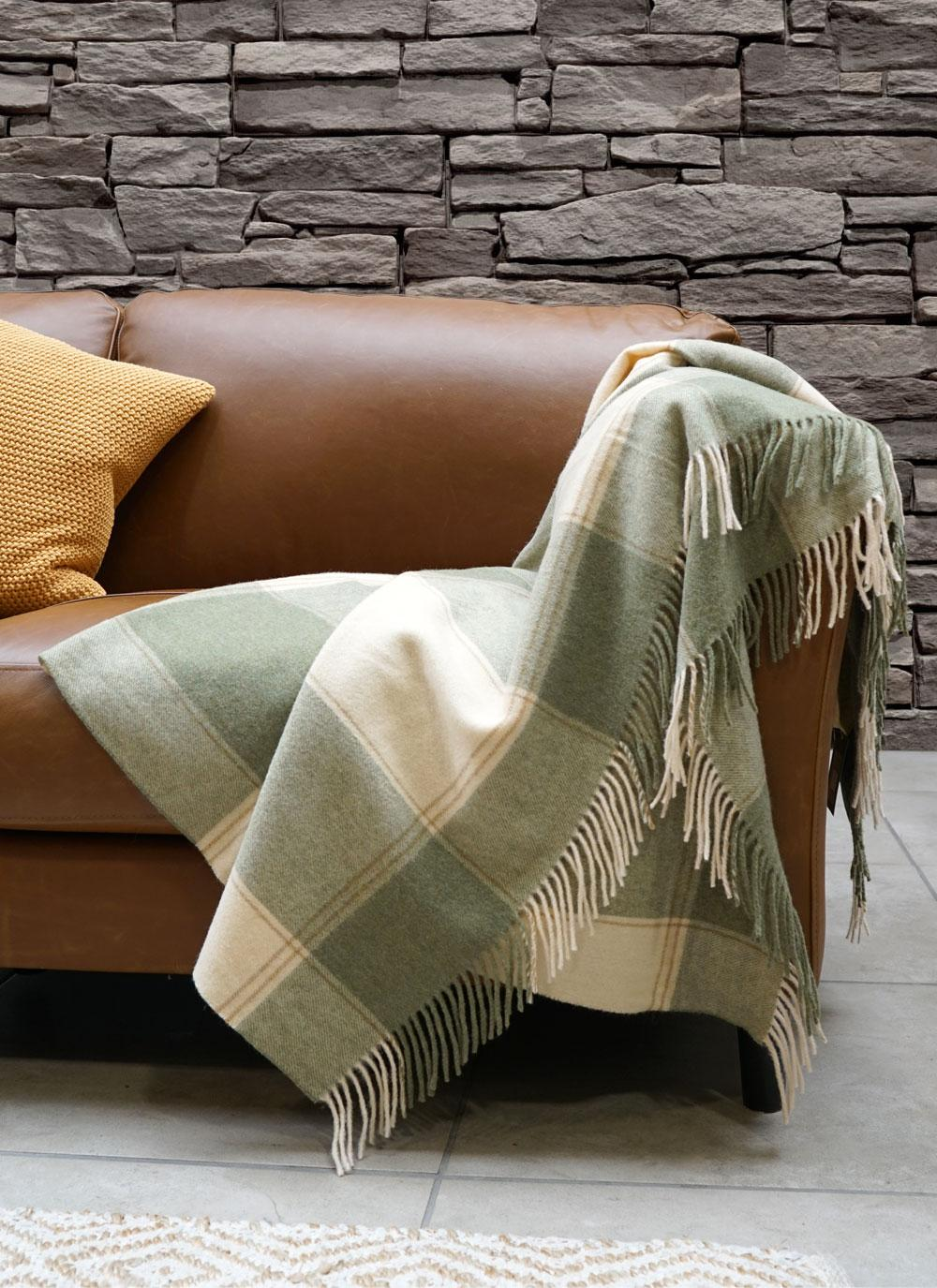 Cozy up with the Blarney Green & Cream Lambswool Throw