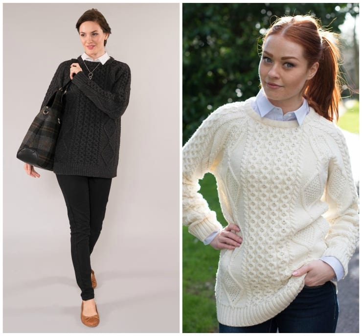 Molly Aran Crew Neck Sweater in Charcoal & Natural
