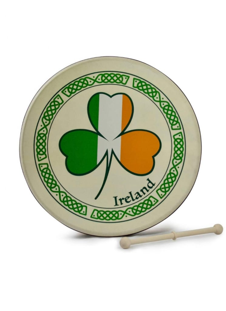 Tricolor Shamrock 15'' Bodhran available at Blarney.com