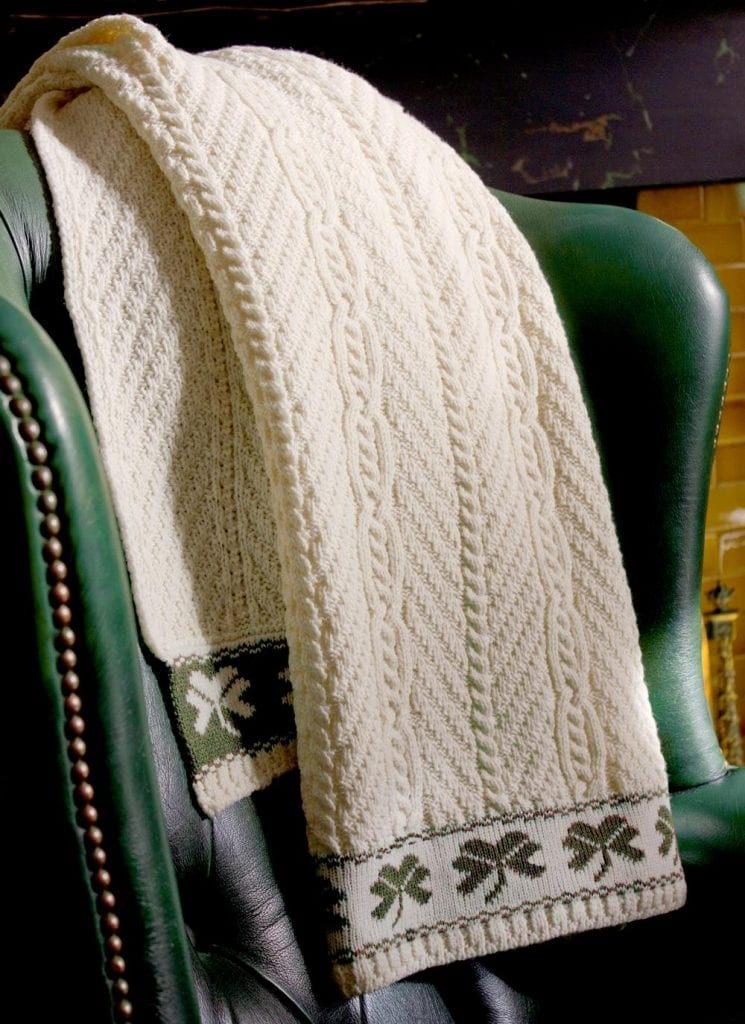 Shamrock Aran Cable Stitch Throw