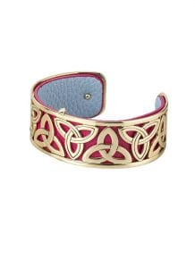 Gold Plated & Leather Trinity Bangle